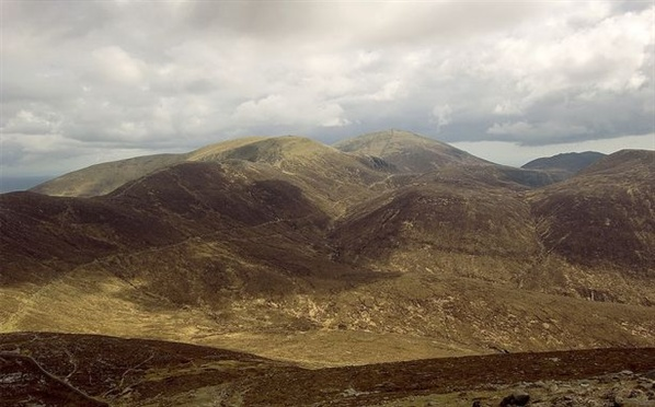 Commedagh, Donard and the Brandy Pad from the slopes of Slieve Bearnagh